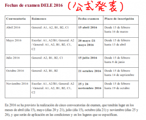 fechas de examenes dele 2016 oficial